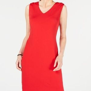 JM COLLECTION Red Laced-Shoulder Dress NWT